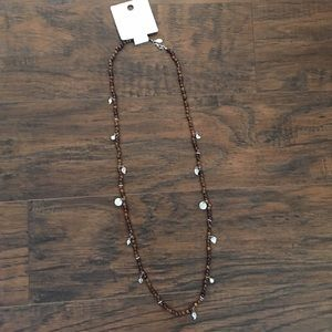 American Eagle necklace, wood & silver beads, NWT